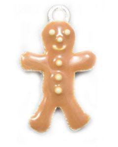 Sterling Silver Gingerbread Man w/ Enamel Charm