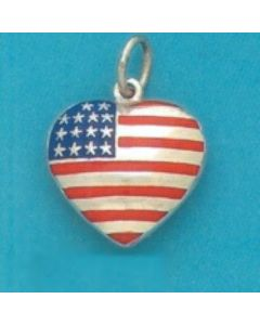 Sterling Silver Puff Flag Heart Charm, Large, Enamel