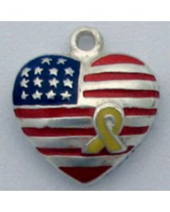 "Sterling Silver Heart Charm: Enamel American Flag w/ Yellow Ribbon ""They Gave It All For Us"""