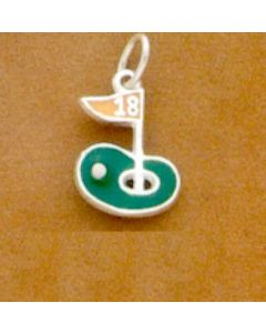 Sterling Silver Golf Charm: 18Th Hole, Enamel