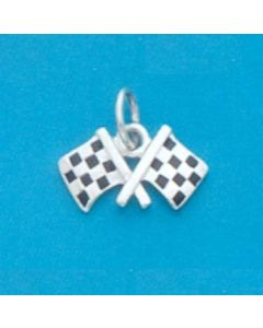 Sterling Silver Checkered Flags Charm: Enamel