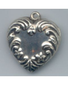 Sterling Silver Victorian Heart Pendant Charm: Puff, Medium