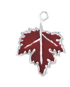 Sterling Silver Maple Leaf Charm, with Red Enamel, Fall, Autumn