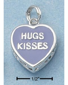 "Sterling Silver Heart Charm: Purple Enamel w/ ""Hugs Kisses"" On Both Sides"