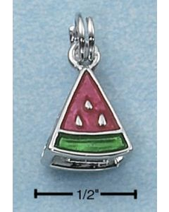 Sterling Silver Watermelon Charm: Pink and Green Enamel