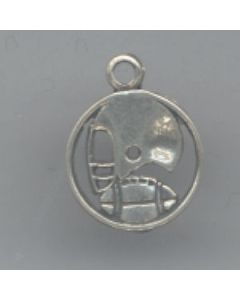 Sterling Silver Football Charm: Encircled F-191