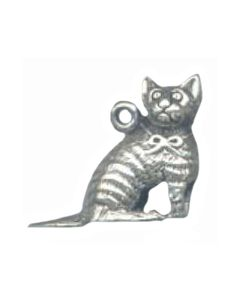 Sterling Silver Cat Charm: Striped, Sitting, 3D (Good Detail)
