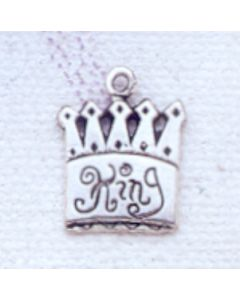 "Sterling Silver Crown Charm: w/ ""King"""