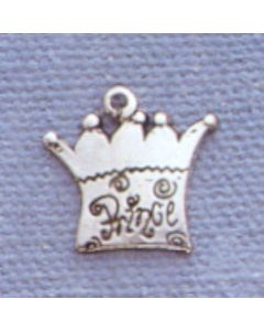 "Sterling Silver Crown Charm: w/ ""Prince"""