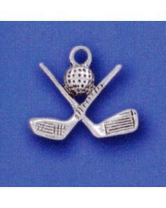 Sterling Silver Golf Charm: Clubs W/Ball G-217