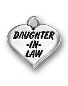 "Sterling Silver ""Daughter-In-Law"" On Heart Charm"