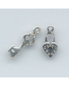 Sterling Silver Lock & Key Charm: Mini  2 piece