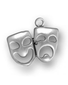 Sterling Silver Drama Masks Charm: Comedy & Tragedy, Small