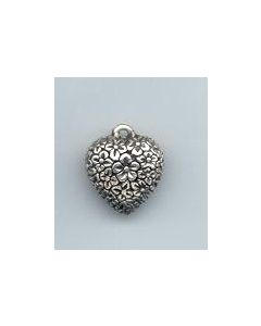 Sterling Silver Heart Charm: Puff w/ Flowers, solid, same design on both sides