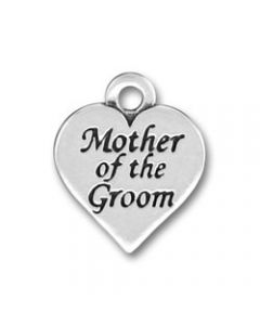 "Sterling Silver Wedding Bridal Party Charm: Heart w/ ""Mother Of The Groom"""