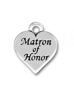 """Sterling Silver Wedding Bridal Party Charm: Heart w/ """"Matron Of Honor"""""""