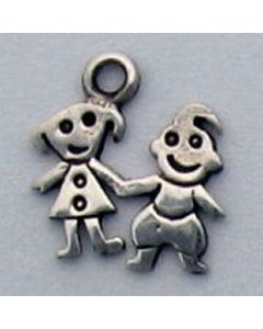Sterling Silver Boy & Girl Charm: Small, Flat