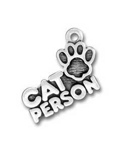 Sterling Silver Cat Person Charm: w/ Paw Print