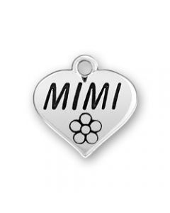 "Sterling Silver Grandmother Charm: ""Mimi"" On Heart"