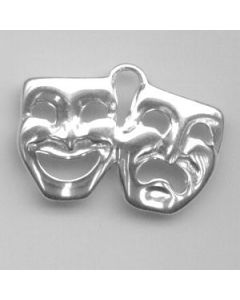 Sterling Silver Drama Masks Charm: Comedy & Tragedy, Side By Side