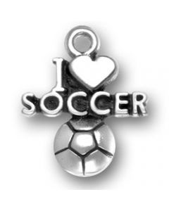Sterling Silver Soccer Charm: I Love W/Ball