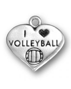 Sterling Silver Volleyball Charm: I Love In Heart