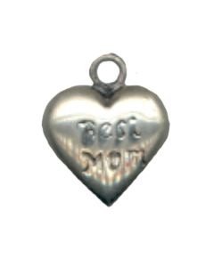 "Sterling Silver Mom Charm: ""Best Mom"" On Small Heart"