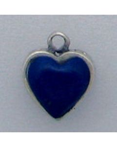 Sterling Silver Heart Charm: Blue/Filigree Reversible