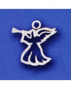 Sterling Silver Angel Charm: w/ Horn, Cut Out