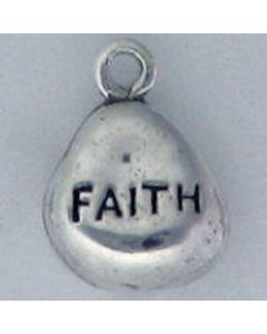 Sterling Silver Nugget Charm: Faith