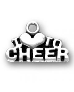 "Sterling Silver Cheerleader Charm: ""I * To Cheer"""