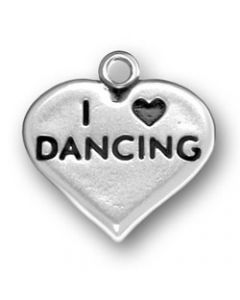 "Sterling Silver Dance Charm: ""I * Dancing"" On Heart"