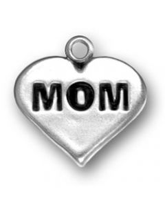 "Sterling Silver Mom Charm: ""Mom"" On Heart"