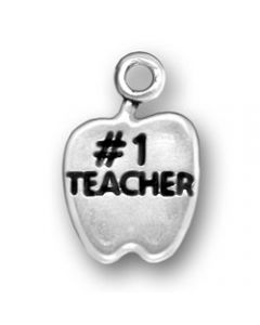 "Sterling Silver Teacher Charm: ""#1 Teacher"" On Apple"