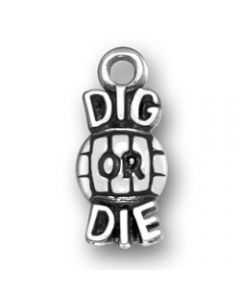 Sterling Silver Volleyball Charm: Dig Or Die