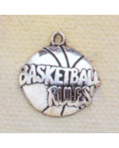 """Sterling Silver Basketball Flat Charm, """"Basketball Rules"""""""