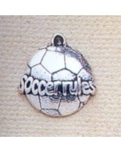 "Sterling Silver Soccer Ball Charm, Flat, ""Soccer Rules"""