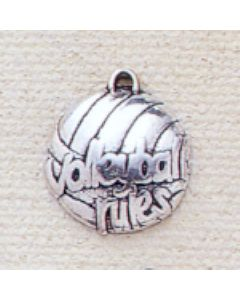 "Sterling Silver Volleyball Flat Charm, ""Volleyball Rules"""