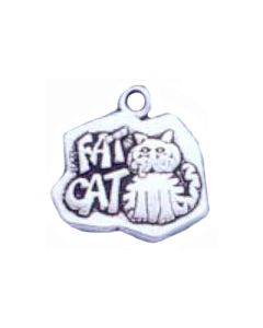 "Sterling Silver Cat Charm: ""Fat Cat"""