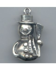 Sterling Silver Snowman Charm: w/ Broom, One Sided