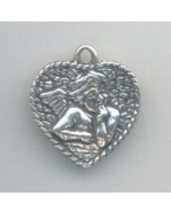 Sterling Silver Cherub In Heart Charm