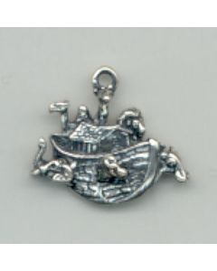 Sterling Silver Noah's Ark Charm: 1 Sided