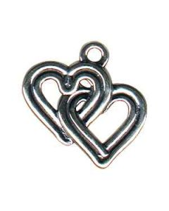 Sterling Silver Hearts Charm: Double, Interlocking