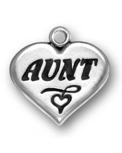 "Sterling Silver Aunt Charm: ""Aunt"" On Heart"