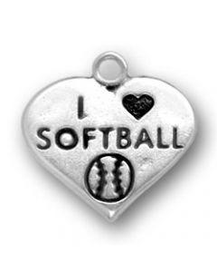 "Sterling Silver Softball Charm: ""I * Softball"" On Heart"