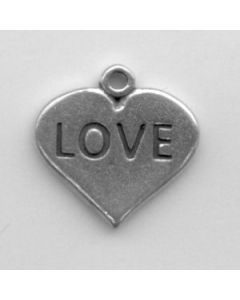 "Sterling Silver Love Charm: ""Love"" On Heart"