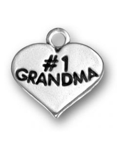 "Sterling Silver Grandmother Charm: ""#1 Grandma"" On Heart"