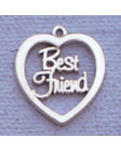 "Sterling Silver Best Friends Charm: ""Best Friend"" In Open Heart"