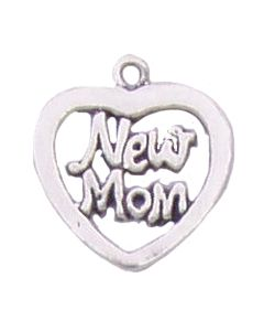 "Sterling Silver Mom Charm: ""New Mom"" On Heart"