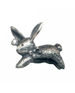 Sterling Silver Rabbit Charm: W/ Bow Around Neck